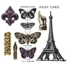 Tim Holtz Sizzix Framelits FRENCH FLIGHT Wafer Thin Die & Stamp Set 659884