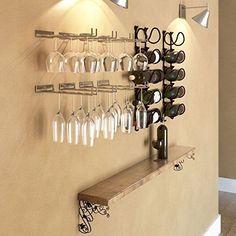 Wallniture Wall Mounted Stemware Wine Glass Rack Hanger Storage Chrome Finish Set of 4 Wall Wine Glass Rack, Wine Glass Storage, Wine Glass Holder, Wine Wall, Glass Shelves In Bathroom, Floating Glass Shelves, Chenin Blanc, Cabernet Sauvignon, Wine Rack Inspiration