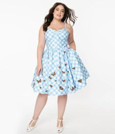 Tea Party Outfits, Vintage Outfits, Vintage Fashion, Blue Dresses, Summer Dresses, Swing Skirt, Blue Gingham, Trendy Clothes For Women