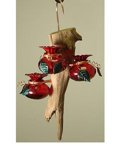 Unique hummingbird feeders made from real driftwood - each one is different! Available at Duncraft