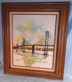 Original Mid Century Impessionism Oil Canvas Adriano Marchello Industrial Bridge #Impressionism