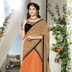 Orange Net Lehenga Choli with Dupatta