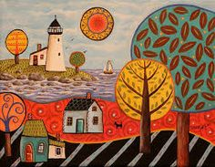 Resultado de imagem para karla gerard folk art Karla Gerard, Fork Art, Folk, Fairy Houses, Lighthouse, Abstract Art, Scenery, Photo Wall, Drawings