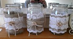 I got the burlap and lace through this morning that I want on my mason jars for my wedding flowers, so I have been playing around with diff. Lace Mason Jars, Mason Jar Wine Glass, Mason Jar Crafts, Mason Jar Diy, Bottle Crafts, Easy Crafts To Sell, Wine Bottle Design, Jar Art, Tissue Paper Flowers