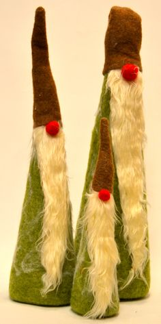 These look like the Christmas Felt versions of Cousin It, or ZZ Top.