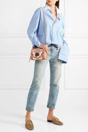 Jimmy ChooLockett Petite patchwork suede, leather and elaphe shoulder bag