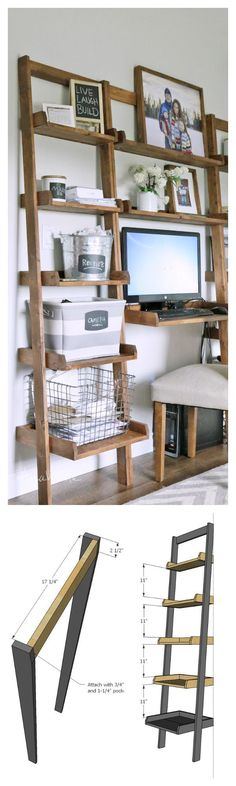 diy shelf- leaning ladder wall bookshelf made from boards desk plans too - Diy Furniture Beds Ideen Home Decor Furniture, Furniture Projects, Furniture Plans, Home Projects, Diy Home Decor, Furniture Design, Bookshelf Plans, Wall Bookshelves, Desk Plans