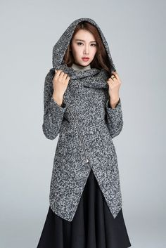 black and white coat short coat asymmetrical jacket by xiaolizi