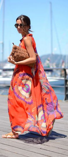 @roressclothes closet ideas #women fashion outfit #clothing style apparel Bright Summer Dress via