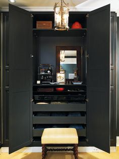 Vanity In a small walk-in closet where limited floor space won't allow for additional furniture, devote a little interior real estate to a dresser-like arrangement.