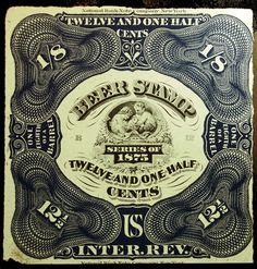 #rarestamp Sale LittleArtTreasures.com US REA30 12 1/2c Blue & Black 1875 VF Unused Beer Stamp Margin Imprint Crisp
