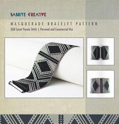Peyote Pattern - Masquerade Bracelet in Black and Silver - Bead weaving Tutorial Peyote Stitch Patterns, Seed Bead Patterns, Loom Patterns, Bracelet Patterns, Beading Patterns, Peyote Beading, Beadwork, O Beads, Bracelets