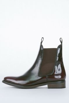 Matte Burgundy Leather Womens Chelsea Boot with Eggplant Fading Effect by Miista