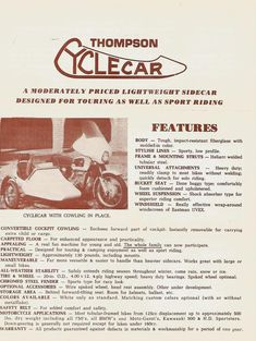 Thompson Cyclecar sales brochure motorcycle sidecar