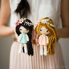 PDF PATTERN: Primrose Dolls Crochet Pattern - - - - - - - - - - - - - - - - - - - - - - - - - - - - - - - - - - - - - - - - - - - - - - - - Crochet these sweet and whimsical Primrose Dolls! With gorgeous flowing hair, flower crowns, fabric dresses, boots and bead necklaces, these dolls
