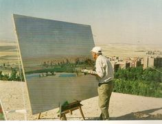 david hockney painting on a canvas outside - Google Search