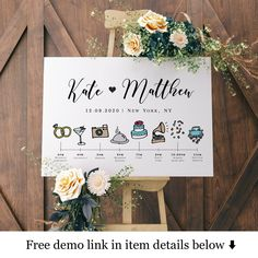 Welcome timeline sign template Event Schedule Templett Wedding Day Itinerary, Wedding Schedule, Wedding Agenda, Wedding Planner, Wedding Icon, Wedding Signs, Wedding Ideas, Wedding Reception, Wedding Rehearsal