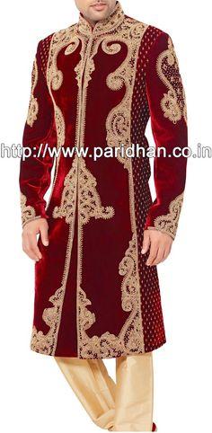 Fantastic Maroon Velvet Sherwani