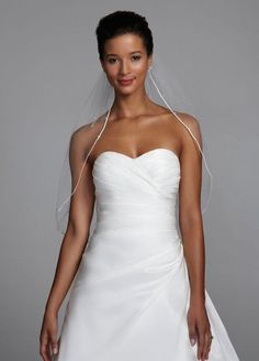 David's Bridal Mid-Length Veil with Pearls and Crystals Scattered Style V303