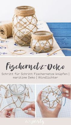 All Details You Need to Know About Home Decoration - Modern Twine Crafts, Rope Crafts, Diy Home Crafts, Creative Crafts, Yarn Crafts, Decor Crafts, Mason Jar Crafts, Bottle Crafts, Tea Light Holder