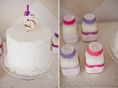 custom cake topper and milk bottle labels for a Winter Wonderland birthday dessert table by Shauna Younge | Sweet Tooth (pic: Angela Rose Ph...