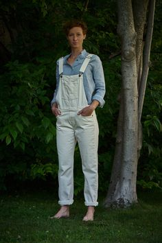 Naked & Famous Denim Women's Bib Overall Natural Seed Denim Bib Overalls, Tan Leather, Naked, Seeds, One Piece, Denim, Natural, Tops, Jeans