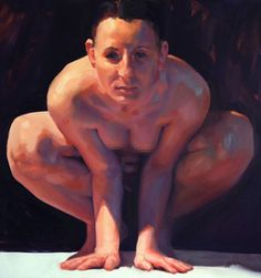 Artist: Brian Smith; Toronto, Ontario, Canada {contemporary figurative discreet nude female figure crouching woman cleavage painting} #NSFW