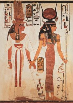 A great poster of Ancient Egyptian art - Queen Nefertari of Egypt and the goddess Hathor! Perfect for Classics Majors. Need Poster Mounts. Ancient Egyptian Clothing, Ancient Egypt Art, Egyptian Women, Egyptian Art, Ancient History, Egyptian Isis, Egyptian Hieroglyphs, Egyptian Goddess, Ancient Egypt Fashion