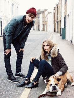 he with the hat, she with the dog. pretty grunge