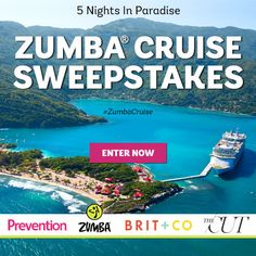 I just entered the Zumba® Cruise Sweepstakes hosted by Prevention. Click here to enter! #Sweepstakes. NO PURCH NECESSARY. 48 US & DC (excl. AK, HI, PR & CAN), 21+. Ends 10/6/15. See rules at http://rodalesweeps.com/4h7/rules.