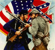 Brother against Brother in the Great Civil  War.The only war fought in the United States