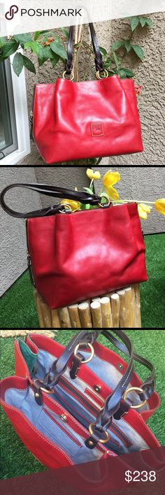 """🎁🌷🌹Dooney & Burke beautiful red purse 👛 💯Authentic Dooney & Burke gorgeous red leather with brown beautiful leather handle and gold hardware in great condition just some scrubs on the corner picture 8 shown overall the outside and inside in clean great condition measure is 17"""" in width and length is 10"""" straps drop is 11"""" also the bag has amazing both side zipper detail if u like to make it bigger or different style and inside has 3 wonderful compartments ♥❤️ Dooney & Bourke Bags…"""