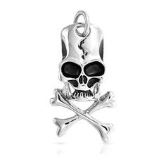 Bling Jewelry Antique Cracked Skull Crossbones Pendant Stainless Steel ($25) ❤ liked on Polyvore featuring jewelry, pendants, silver tone, stainless steel pendant, gothic jewelry, charm pendant, antique jewelry and skull pendant