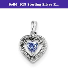Solid .925 Sterling Silver Rhodium-plated Tanzanite & Diamond Pendant 18x12mm. Material: Primary - Purity:925|Stone Type_1:Tanzanite|Stone Type_2:Diamond|Stone Color_1:Blue|Stone Quantity_1:1|Length of Item:18 mm|Stone Setting_1:Prong Set|Stone Weight_1:0.35 ct|Stone Weight_2:0.030 ct|Material: Primary:Sterling Silver|Stone Shape_1:Trillion|Stone Size_1:4.5 x 4.5 mm|Stone Treatment_1:Heating|Width of Item:12 mm|Product Type:Jewelry|Jewelry Type:Pendants & Charms|Sold By...