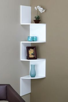 corner shelf, paint it a color to stand off the grey walls @Travis Vachon Vachon Vachon Vachon Vachon Vachon Corkery