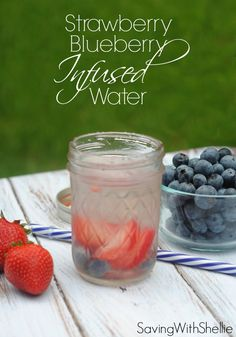 Get festive without all the calories with this Blueberry Strawberry Infused Water. It's the prefect crisp, refreshing drink for summertime.