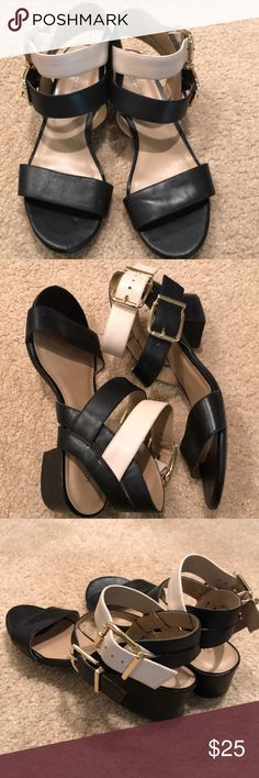 Black and Cream low heel sandals from Sole Society Very gently used wardrobe staple for summer! Sole Society Shoes Sandals