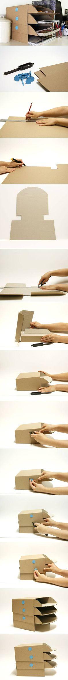 DIY Cardboard office Desktop storage Trays (DIY Creative Ideas)