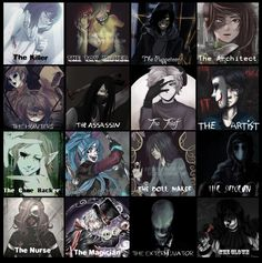 Submission: The Jobs of some of the creepypasta's Row 1: • Jeff the Killer • Jason the Toy Maker • The puppeteer • Anesthesia Row 2: • The trio proxies • Nathan the Nobody • Nick Vanill • Bloody Painter Row 3: • Ben Drowned • Candy Pop • The Doll...