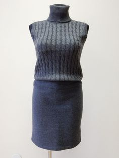 NEW! DRESS&SCARF WOMEN'S MAX MARA STUDIO AUTHENTIC 100% VIRGIN WOOL GRAY SZ.M #MaxMara #Casual
