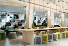 This Swedish Forest-Inspired Office Includes an Interactive Floor That Mimics a Stream – Office lounge Open Office, Office Lounge, Cool Office, Pantry Office, Office Break Room, Office Bar, Front Office, Small Office, Office Space Design