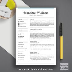 @allcupation Creative Resume Template, Modern CV Template, Word, Cover Letter, References, Instant Download, Mac PC, FRANCISCO | Allcupation.com | We Help You Create Powerful Resume and Win The Interview | #resume #template #resumetemplate