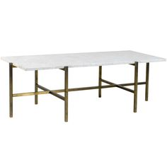 1stdibs | Architectural Brass and Stone Coffee Table Attributed to Harvey Probber