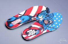 Reebok has teamed with Marvel to release some awesome limited edition shoes. Captain America (Insoles)