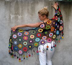 Large, warm and cosy shawl to liven up dreary spring, summer and autumn days. plus fringes Height: 60 cm = in. plus fringes Beautiful handmade floral details make this piece special. It accentuates your femininity wit Shawl Crochet, Crochet Scarves, Crochet Clothes, Crochet Lace, Crochet Stitches, Cotton Crochet, Crocheted Scarf, Knitted Coat, Knitting Patterns