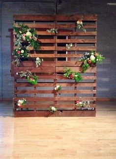 Pallet Backdrop: Wood pallet backdrop, stained in a beautiful mid-tone. We love it styled with floral! Perfect for backdrops, behind a dessert bar, a place to hang photos or old windows! Pallet Backdrop, Diy Backdrop, Backdrop Lights, Wood Backdrops, Rustic Backdrop, Wedding Backdrops, Trendy Wedding, Diy Wedding, Rustic Wedding