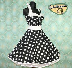 50's vintage dress full skirt Polka Dots by Lolablossomclothing, $99.00