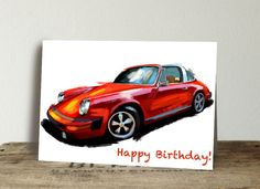Excited to share this item from my #etsy shop: Porsche Birthday Card. Thank you card. Customize your card, valentines day card, automotive enthusiast card, car card, set of 10 cards
