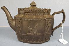 Black feldspathic stoneware teapot 6 ins high , c.1800