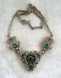 Coro Goldtone and Green Rhinestone Necklace